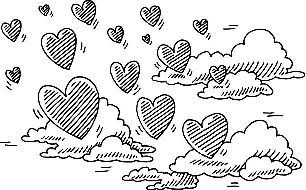 Love Is In The Air Flying Hearts Clouds Drawing Hand-drawn vector drawing of a some Flying Hearts and Clouds. Love Is In The Air Concept Image. Black-and-White sketch on a transparent background (.eps-file). Included files are EPS (v10) and Hi-Res JPG. celebration stock illustrations
