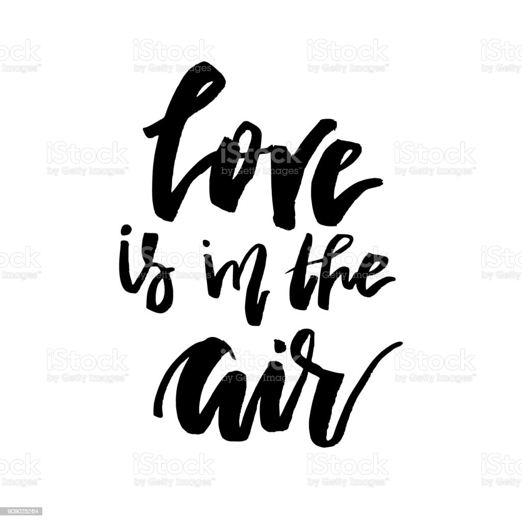 Liebe Liegt In Der Luft Happy Valentines Day Karte Mit Kalligraphie ...