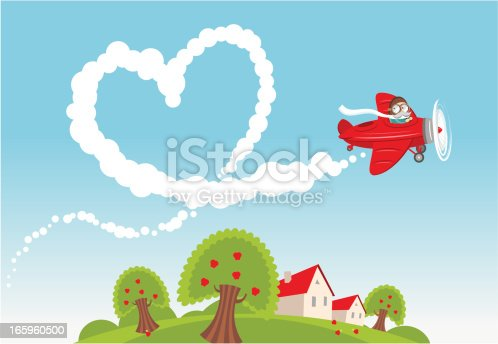 Illustration of a small airplane leaving a heart-shaped trace in the sky.