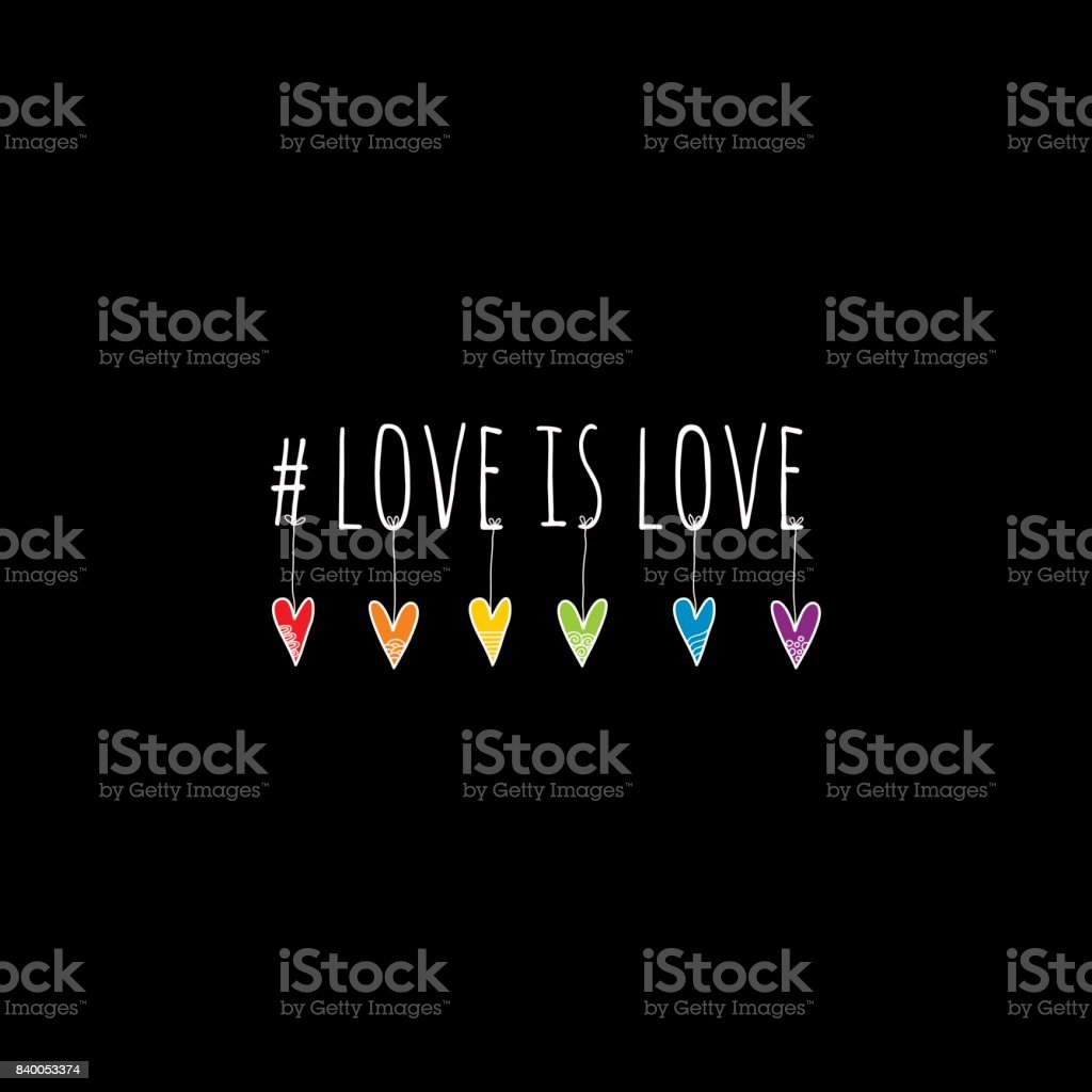 #Love is Love Doodle Vector on Black Background vector art illustration