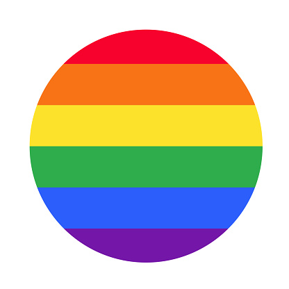 Love is Love. Flag of LGBT community on flagstaff. Vector illustration in rainbow color for sticker, poster, patch, t-shirt, pin.