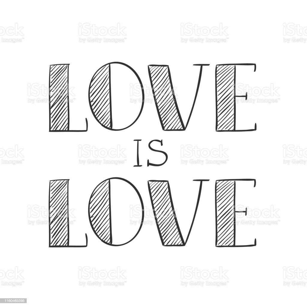 Ilustración De El Amor Es El Amor Letras A Mano En Estilo