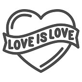 Love is love heart symbol line icon, LGBT concept, love sign on white background, LGBT heart with text love is love icon in outline style for mobile. Vector graphics