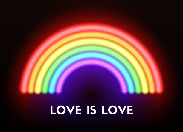 Love is love. Neon rainbow Love is love. Vector realistic neon rainbow gay person stock illustrations