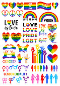 Love is love, LGBT, gay, pride, rainbow flag, heart symbols, hand signs, gender icons, set of vector graphic design elements