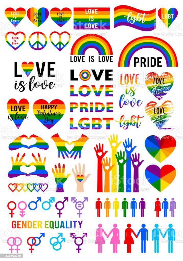 El amor es amor, bandera del arco iris, orgullo lgbt, conjunto vectoriales - ilustración de arte vectorial