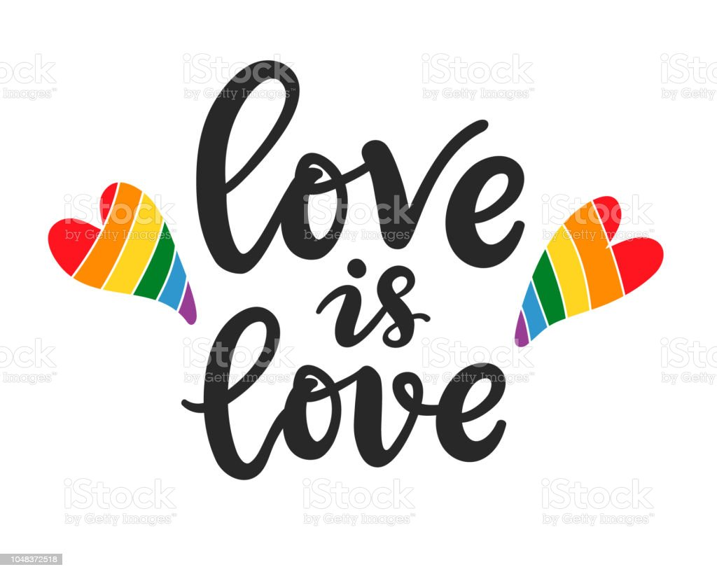 Amor es amor. Gay, lesbiana escrito a mano Letras cartel - ilustración de arte vectorial