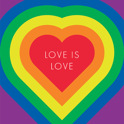 Love is love text, quote. LGBT rainbow texture.