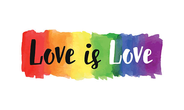 Love is love Love is love hand lettering written on a watercolor rainbow spectrum pride flag, isolated on white. LGBT rights concept. Modern poster, cards design gay person stock illustrations