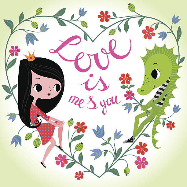 Love is Me and You. Princess and Dragon in Floral Frame. EPS8, RGB. cute teen couple stock illustrations