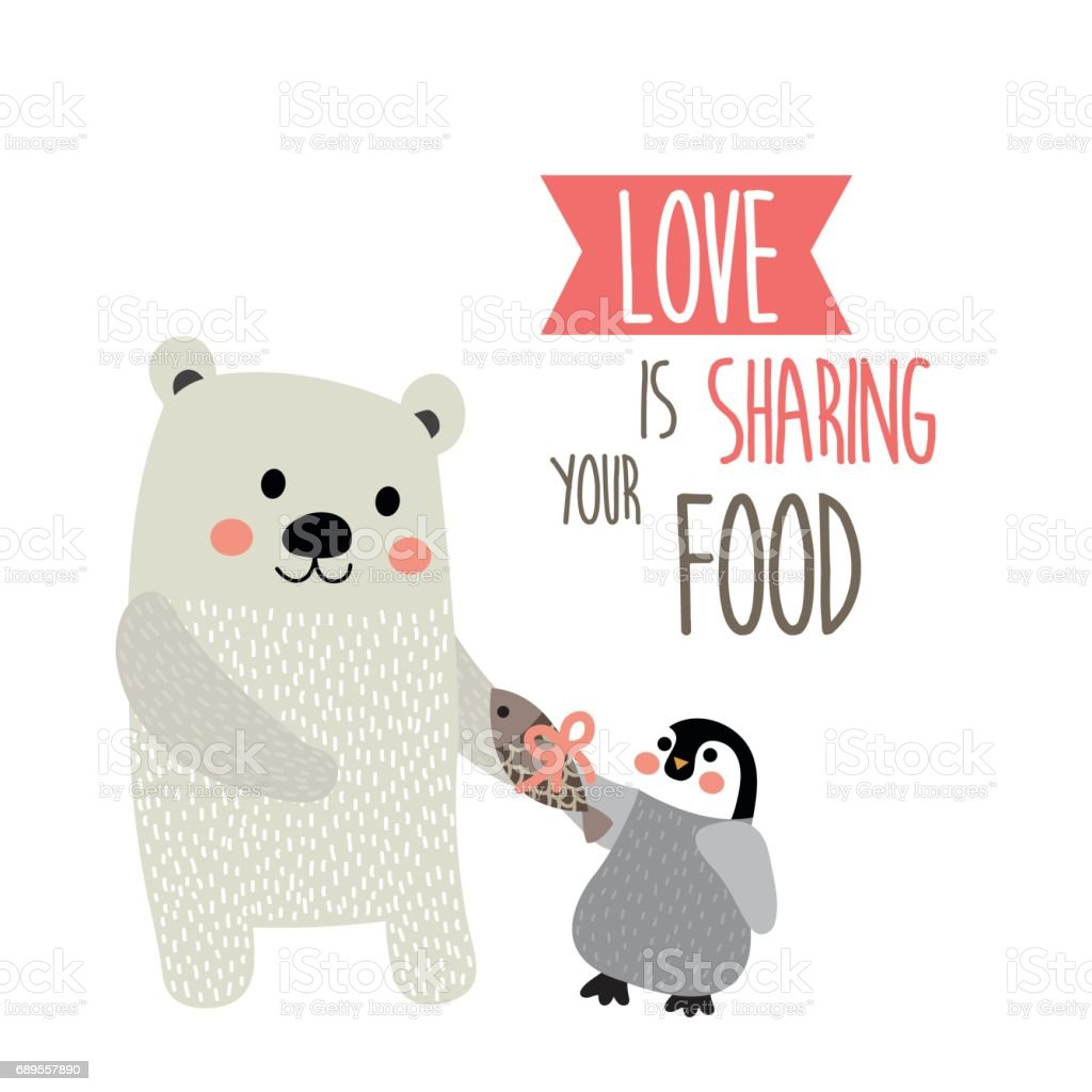 Cartoon Love Quotes Love Is Sharing Your Food Quote With Cute Polar Bear And Penguin