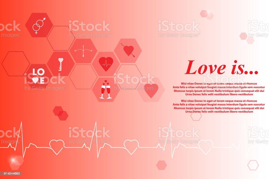 Liebe Ist Slogan Valentinstagbanner Grußkarte Stock Vektor Art und ...