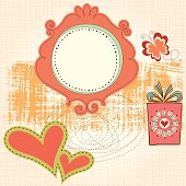 Cute frame card with butterfly, gift box and hearts. Seamless background. AI CS5, EPS 10 and JPG.