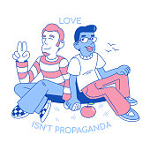 Cartoon characters trendy flat design modern illustration two love lgbt men hold hand together homosexuals friendship between cute smile happy gay  boys  love rights of minority sex. pride world wide