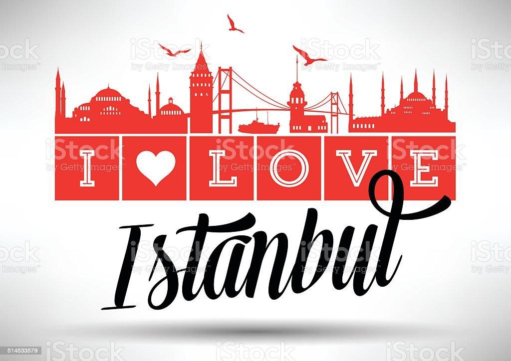 I Love Istanbul Typography Design vector art illustration