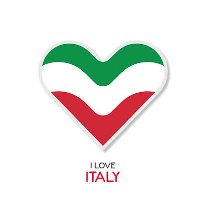 Love Italy emblem with heart in national flag color stock illustration