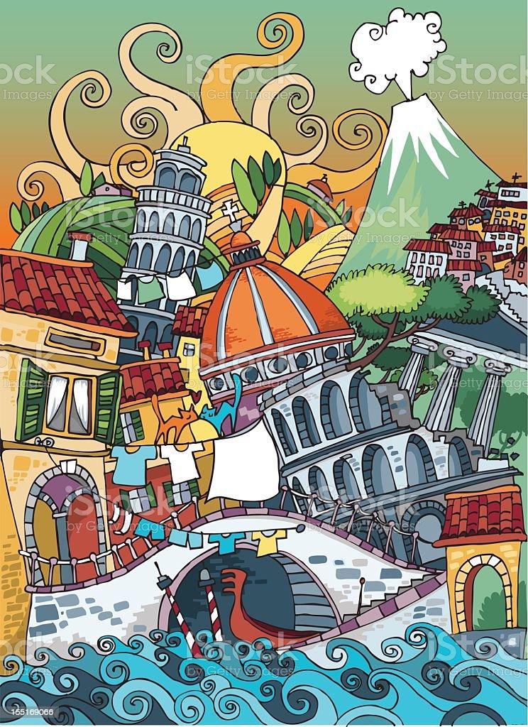 Love Italy vector art illustration