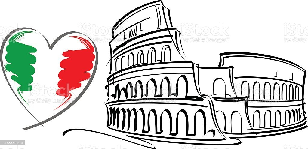 I love Italy vector vector art illustration
