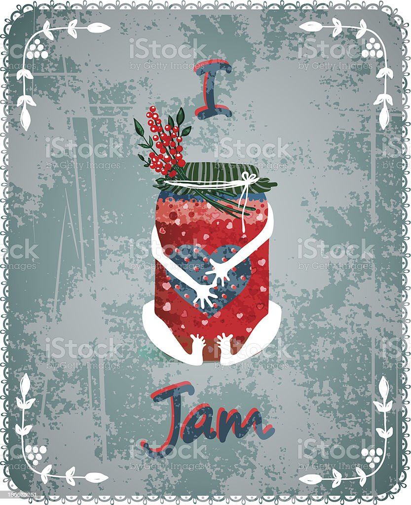 I Love Jam Vintage Advertisement Poster Concept royalty-free i love jam vintage advertisement poster concept stock vector art & more images of backgrounds