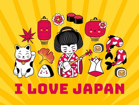 I love Japan. T-shirt design, print postcard with famous japanese symbols.