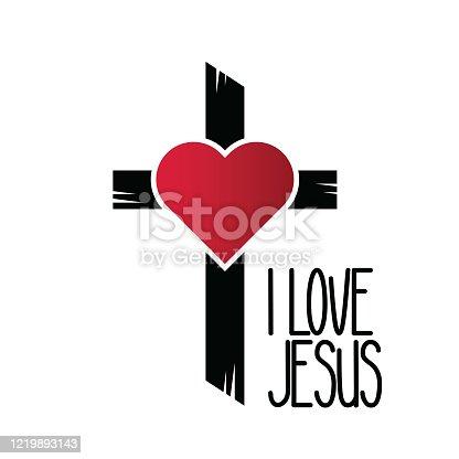 istock I love Jesus heart sign. stock illustration 1219893143