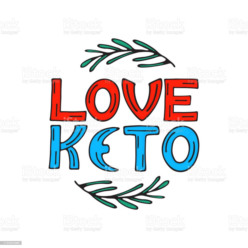 I love keto hand drawn doodle text with rosemary sprigs. Healthy eating concept vector art illustration