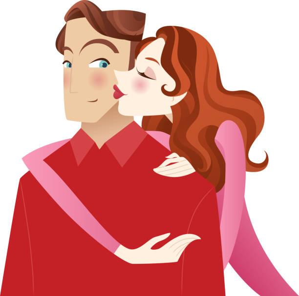 stockillustraties, clipart, cartoons en iconen met love kiss - verleiding