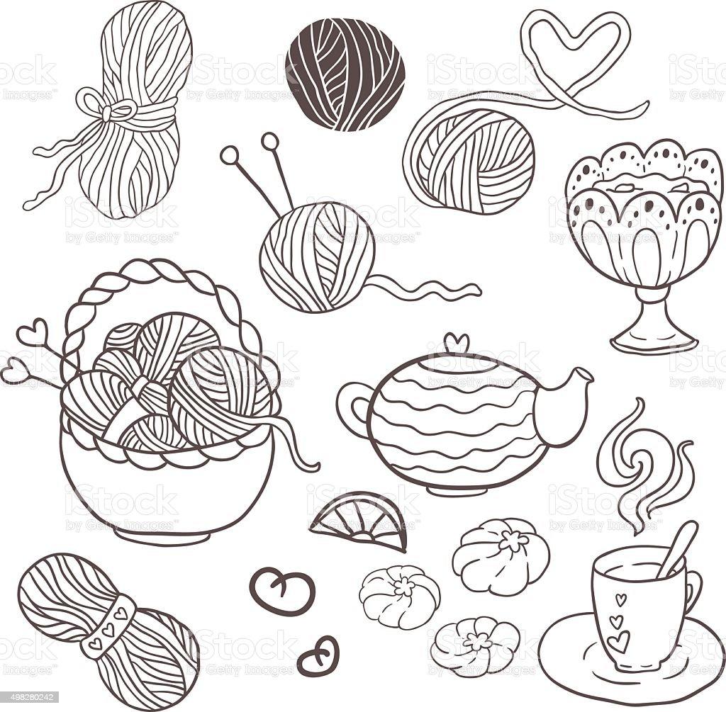 I Love Knitting Fun Outline Vector Set For Your Design Stock Vector ...