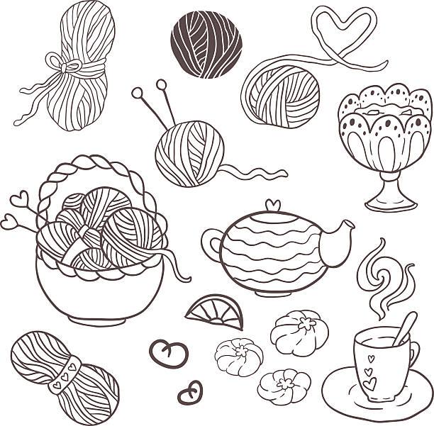 ich liebe stricken! lustige skizzieren vektor-set für ihr design - gehäkelte lebensmittel stock-grafiken, -clipart, -cartoons und -symbole