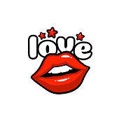 Love label sticker. A kiss of a message. Red lips. Vector illustration