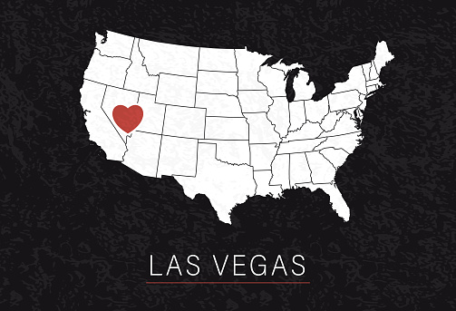 Love Las Vegas Picture. Map of United States with Heart as City Point. Vector Stock Illustration