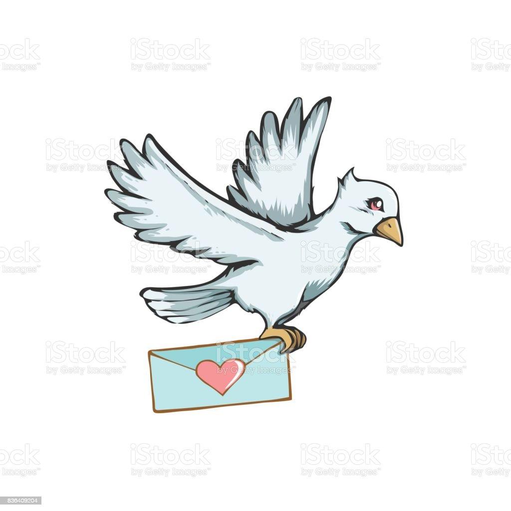 Love letter and pigeon post. Love heart design on envelope for Valentines day. vector art illustration