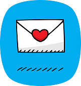 Vector illustration of a hand drawn love letter against a blue background.