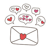 Love letter elements design. Flat design vector. love letter, envelope, valentine, heart, illustrate