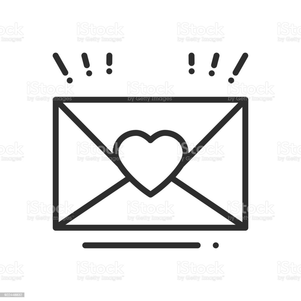 Love Letter Envelope Line Icon Happy Valentine Day Sign And Symbol