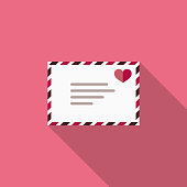 Love Letter Flat Design Valentine's Day Romance Icon