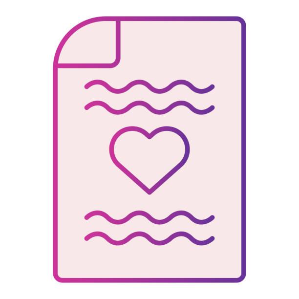 stockillustraties, clipart, cartoons en iconen met de brief vlak pictogram van de liefde. romantische brief met hartsymboolillustratie die op wit wordt geïsoleerd. retro papieren brief met hartgradiënt stijl ontwerp, ontworpen voor web en app. eps 10. - flirten