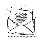 Hand-drawn vector drawing of a Love Letter with a Heart. Black-and-White sketch on a transparent background (.eps-file). Included files are EPS (v10) and Hi-Res JPG.