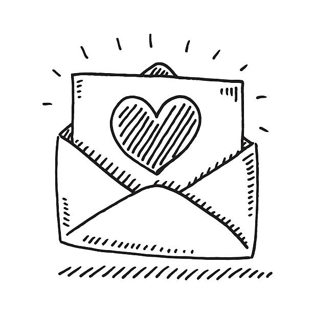 Love Letter Heart Drawing Hand-drawn vector drawing of a Love Letter with a Heart. Black-and-White sketch on a transparent background (.eps-file). Included files are EPS (v10) and Hi-Res JPG. celebration stock illustrations