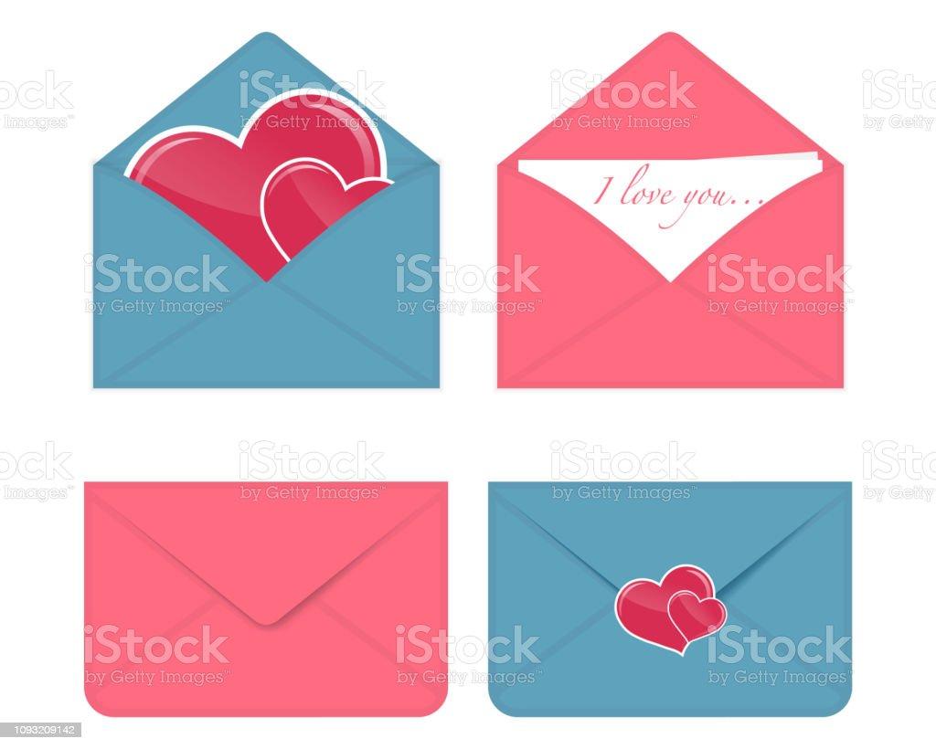 Love letter icon. Set of vector romantic Valentine envelopes Love...