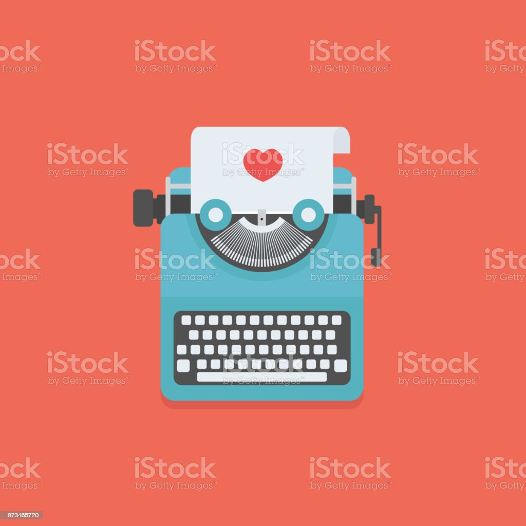Love letter illustration, Typewriter and Paper with love sign vector art illustration