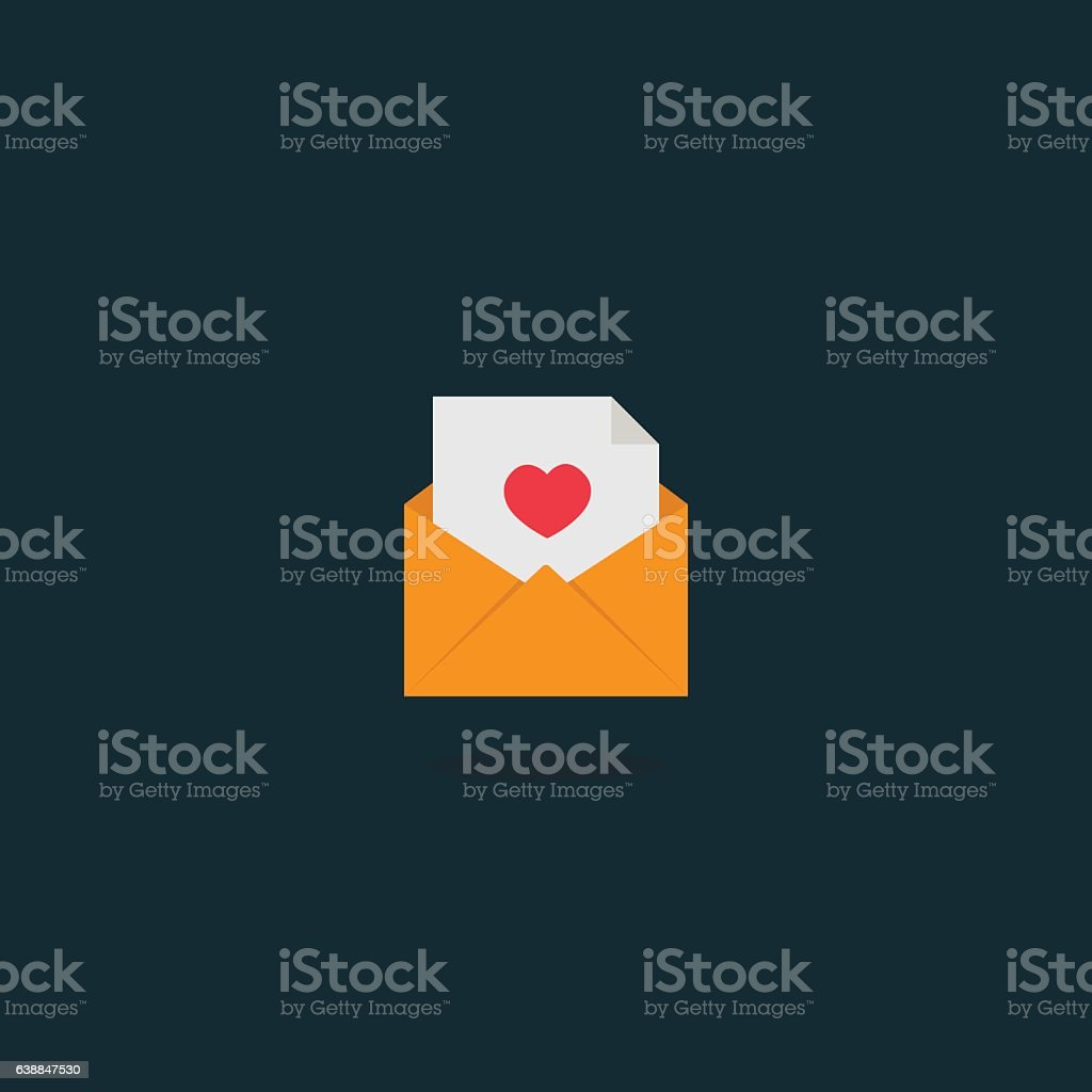 Love Letter in envelope Icon vector art illustration