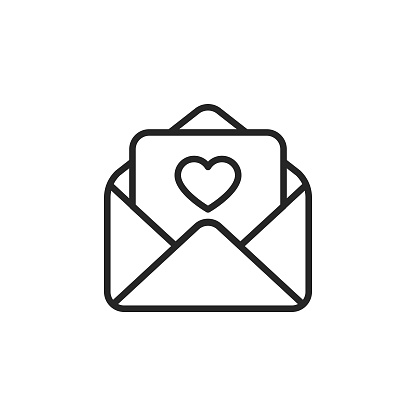 Love Letter Vector Line Icon with Editable Stroke on White Background.