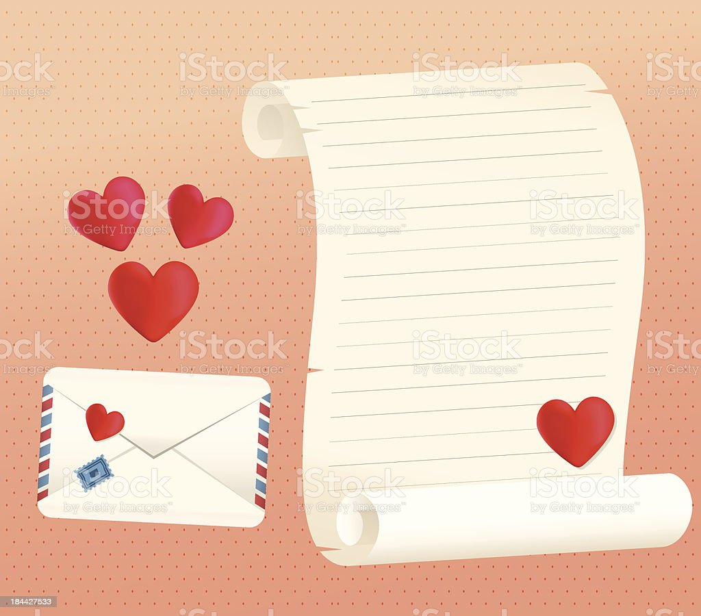 Love Letter Scroll And Envelope Styles With Hearts royalty-free stock vector art