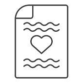 Love letter thin line icon. Romantic letter with heart symbol illustration isolated on white. Retro paper letter with heart outline style design, designed for web and app. Eps 10