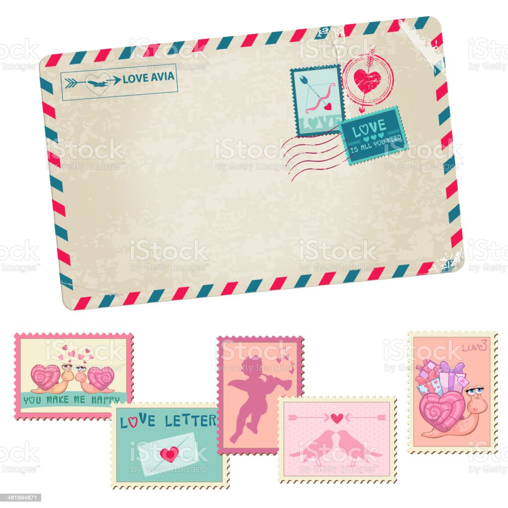 Love Letter - Vintage Postcard - with Love, Valentines, Wedding...