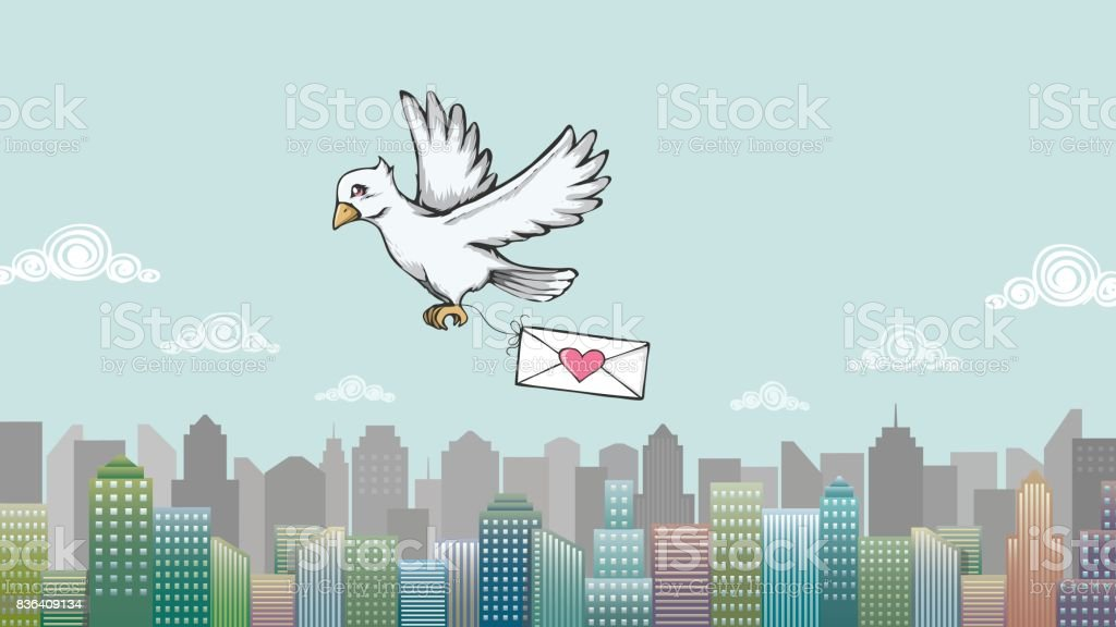 Love letter with pigeon post and city skylines. vector art illustration