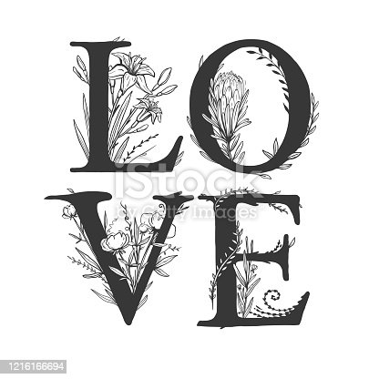 Love lettering. Greeting card for Valentines day with uppercase letters decorated with different flowers. Beautiful vector illustration with floral  lettering.