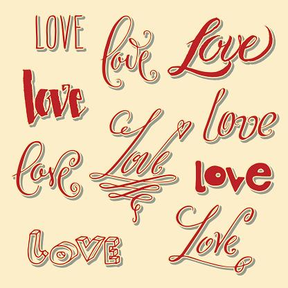 Love lettering in misc styles