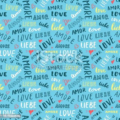 istock Love lettering seamless pattern vector illustration. Love written in different languages romantic words background 1323669886